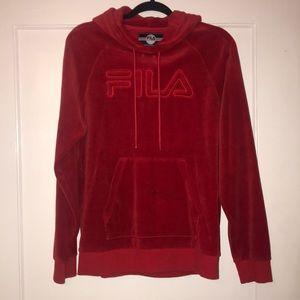 Red velvet FILA hoodie